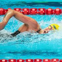 Sarah Sjöström under försöken på 200 meter fritt.