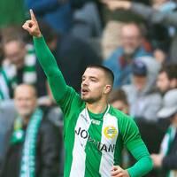 Vladimir Rodic jublar efter sitt 1-0-mål för Hammarby mot Göteborg