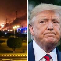 Saudiarabiens kronprins Mohammed bin Salman (t.v) och USA:s president Donald Trump (t.h) har haft kontakt om vilka de tror är skyldiga till attacken.