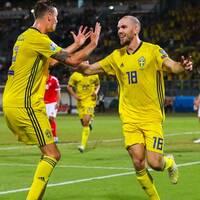 Marcus Danielson jublar efter sitt 1-0-mål mot Malta.