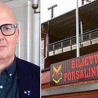 Bosse Svensson och en skylt där det står biljettförsäljning