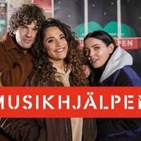 Daniel Hallberg, Farah Abadi och Miriam Bryant i Musikhjälpen.