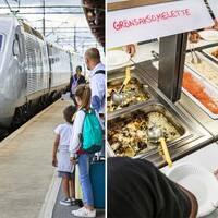En överfull papperskorg, familj som väntar på tåg och vegetarisk mat.