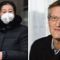 Två personer i Kina med munskydd. Anders Tegnell, Folkhälsomyndigheten.