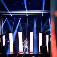 Mohombi efter fredagens publika genrep inför deltävling tre av melodifestivalen i Coop Norrbotten Arena i Luleå.