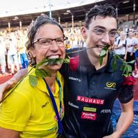 Karin Torneklint och Armand Duplantis på Stockholm stadion i somras.