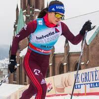 Natalja Neprjajeva hoppar av Ski Tour.