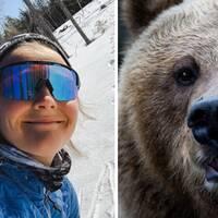 selfie med Stina Nilsson, björnspår i snön i bakgrunden, samt genrebild på en björn
