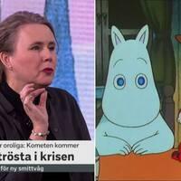 """Muminboken """"Kometen kommer"""" är kanske den främsta tröstromanen i oroliga tider, menar Kulturnyheternas Ulrika Milles."""
