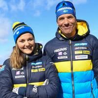 Stina Nilsson med skyttetränaren Jean-Marc Chabloz