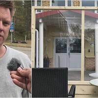 En bild med en man och en liten mikrofon, och en bild på en träställning med plexiglas.
