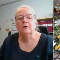 Bildkollage med en bild på en kvinna tagen via videosamtal och en bild på ett blomsterarrangemang på en minnesplats i centrala Uddevallla.