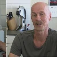 Dubbelbild, ena med ett coronatest och den andra med en mustaschprydd man.