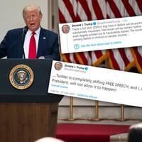 """Ett av Donald Trumps inlägg på Twitter har markerats med en faktagranskning, något presidenten inte uppskattar och anklagar plattformen för att """"kväva yttrandefriheten""""."""