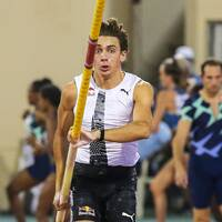 Armand Duplantis på Diamond League-galan i Doha.