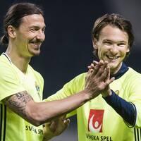 Zlatan Ibrahimovic och Albin Ekdal under en träning med landslaget i maj 2016. Arkivbild.