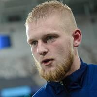 Djurgårdens Kalle Holmberg intervjuas efter fotbollsmatchen i Allsvenskan mellan Djurgården och Malmö FF den 19 oktober 2020 i Stockholm.