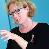 Eva Melander, smittskyddsläkare, under Region Skånes pressträff på Regionhuset i Dockan i Malmö.