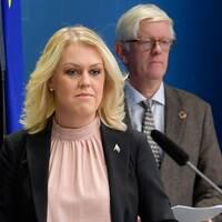 Socialminister Lena Hallengren och Folkhälsomyndighetens generaldirektör Johan Carlson