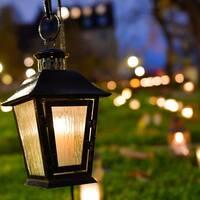 Gravljus, gravlykta på Västberga kyrkogård under alla helgons dag.