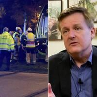 Till vänster bild från olycka i trafiken. I mitten Björn Andersson, till höger bild på person som sitter framför datorn med pornografiska bilder ur fokus på skärmen.