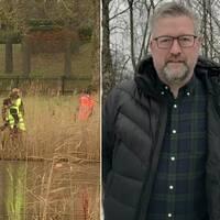 Bilden är ett collage. Den vänstra bilden är en porträttbild på Hans Sjögren kommunpolis i Ljungby. Han syns från midjan och uppåt. Han har på sig en svart dunjacka. Under den har han en blå – och grönrutig skjorta. Han har grått kortklippt hår, grått skägg och svarta rektangulära glasögon. Bakom honom skymtar nakna träd och en grå himmel. Den högra bilden föreställer fyra personer iklädda reflexvästar. De står i vassen vid ett vattendrag.