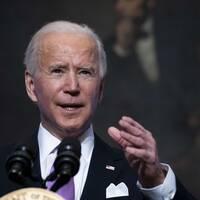 Joe Biden under ett tal i Vita Huset.