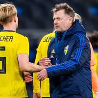 Nilla Fischer och förbundskapten Peter Gerhardsson.
