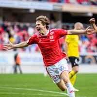 Oliver Berg gjorde matchens enda mål mot Mjällby.