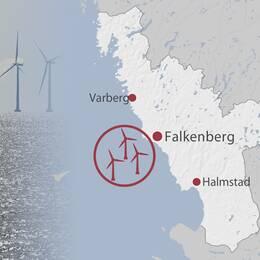 Vindkraftverk till havs/ karta över Kattegatt offshore utanför Falkenberg på Hallandskusten