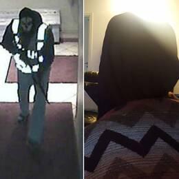 En övervakningsbild från skottdådet på restaurangen i Biskopsgården. En siluettbild på en av de morddömdas mammor och en bild på fönstret till lägenheten som utsattes för en granatattack.