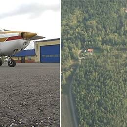 Brandflyg som står parkerad på landningsbanan och en flygbild från ovan