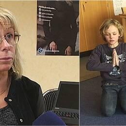 Kristdemokraternas gruppledare i Luleå och två barn som yogar