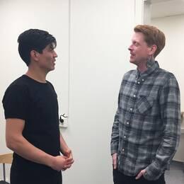 Sprint-klass Jällagymnasiet eleven Navid Rezaie och mentor Jon Wass.