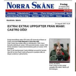 Norra Skåne rapporterade om Castros död – nio år för tidigt