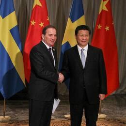 Stefan Löfven och Xi Jinping.
