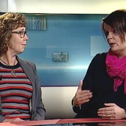 Marie Magnusson, kristdemokratisk ordförande i förskolenämnden i Örebro och Pia Rizell, förskollärare och fackligt aktiv i Lärarförbundet, i SVT:s studio.