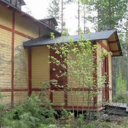 bild på kvinna, inflikt, och ett ödehus i skogen
