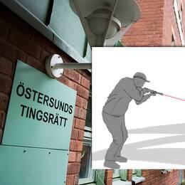 exteriör rätten, infälld illustration av skjutning