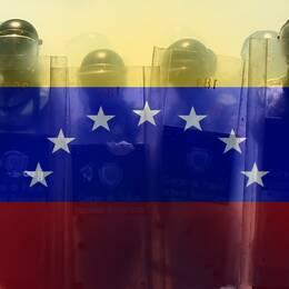 bildkollage Venezuelas flagga och poliser med gasmask