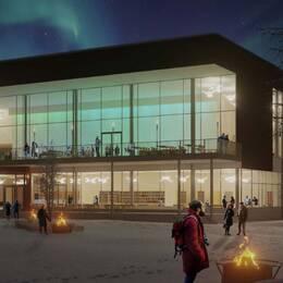 Exteriörskiss av nya kulturhuset i Kiruna.