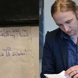 Martin Schibbye och den sista anteckningen han gjorde innan han släpptes fri.
