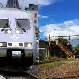 Två bilder: en bild på ett tåg och en bild från broraset.