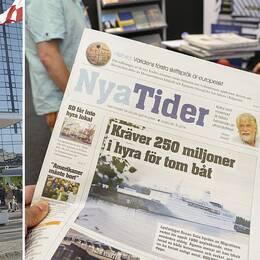 Bild på Svenska Mässas entré i Göteborg. Bild på tidningen Nya Tider.