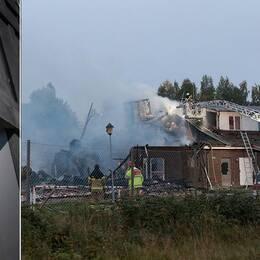 Montage av bilder, Örebro tingsrätt och en bild på moskén i Vivalla efter att den brunnit.