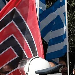 Gyllene grynings flagga tillsammans med den grekiska under en demonstration i Aten.