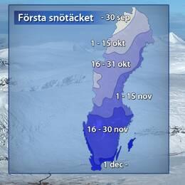 Medeldatum (baserat på referensåren 1961–1990) för när första mätbara snötäcket finns för säsongen.