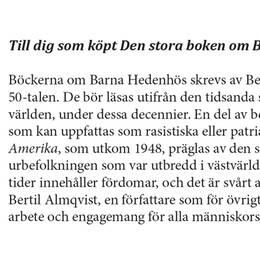 Bokförlaget Bonnier Carlsens följebrev till Hedenhös-samlingen. Del 1.