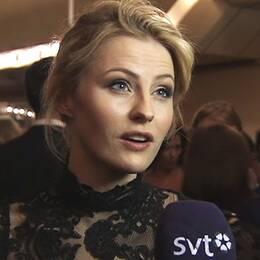 Edda Magnason på röda mattan före Guldbaggegalan 2014. Foto: SVT