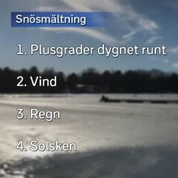 Lista på vad som får snön att smälta snabbast.